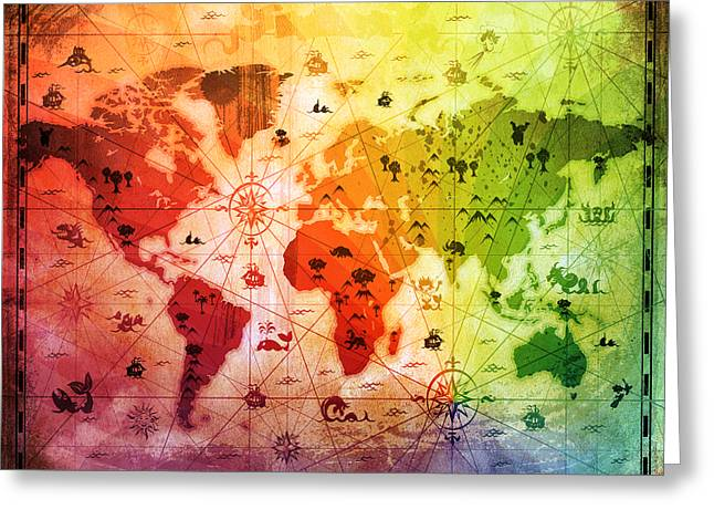 Old World Mixed Media Greeting Cards - Whimsical World Map 4 Greeting Card by Angelina Vick