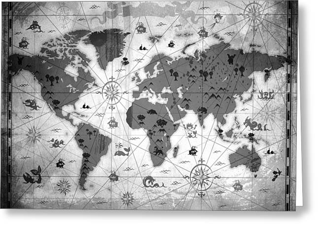 Old World Mixed Media Greeting Cards - Whimsical World Map BW Greeting Card by Angelina Vick