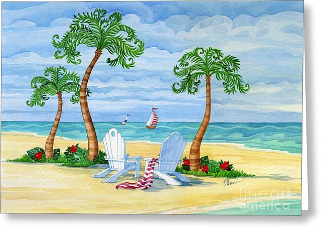 Blue Sailboat Greeting Cards - Whimsy Bay Adirondack Chairs Greeting Card by Paul Brent