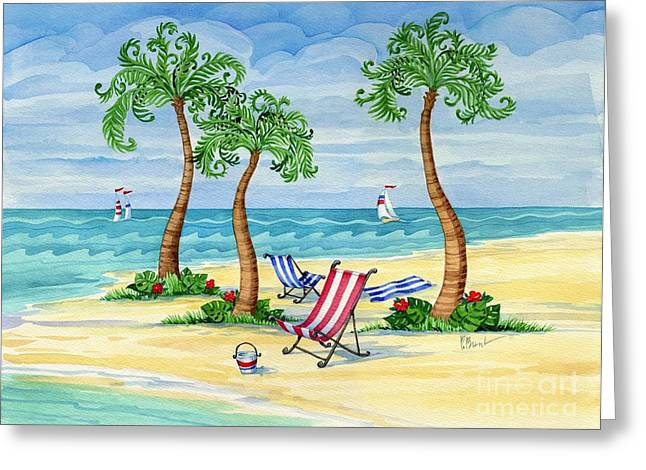 Blue Sailboat Greeting Cards - Whimsy Bay Sling Chairs Greeting Card by Paul Brent