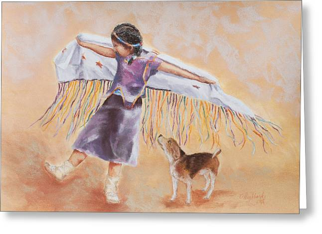 Dancing Girl Pastels Greeting Cards - Whimsy Greeting Card by Debbie Hughbanks