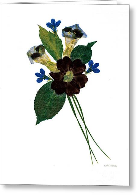 Primroses Mixed Media Greeting Cards - Whimsy Greeting Card by Kathie McCurdy