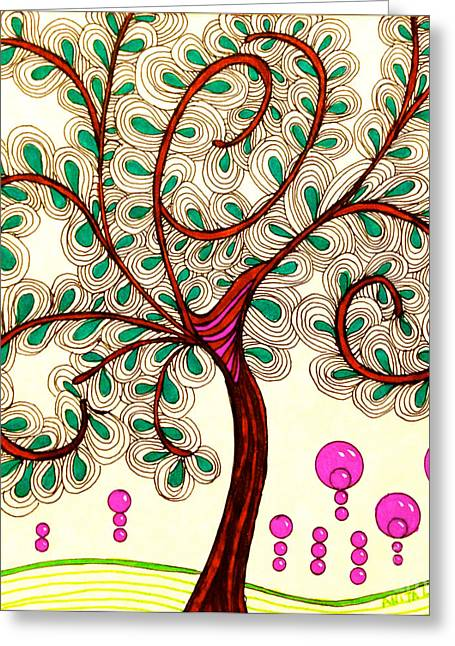 African-american Drawings Greeting Cards - Whimsy Tree Greeting Card by Anita Lewis