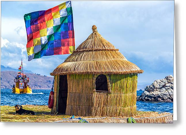Thatch Greeting Cards - Whiphala Flag on Floating Island Greeting Card by Jess Kraft
