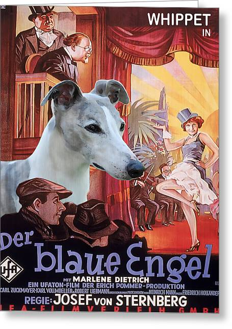Whippet Greeting Cards - Whippet Art - Der Blaue Engel Movie Poster Greeting Card by Sandra Sij