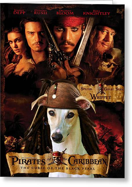 Whippet Greeting Cards - Whippet Art - Pirates of the Caribbean The Curse of the Black Pearl Movie Poster Greeting Card by Sandra Sij