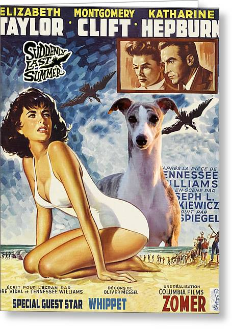 Whippet Greeting Cards - Whippet Art - Suddenly Last Summer Movie Poster Greeting Card by Sandra Sij