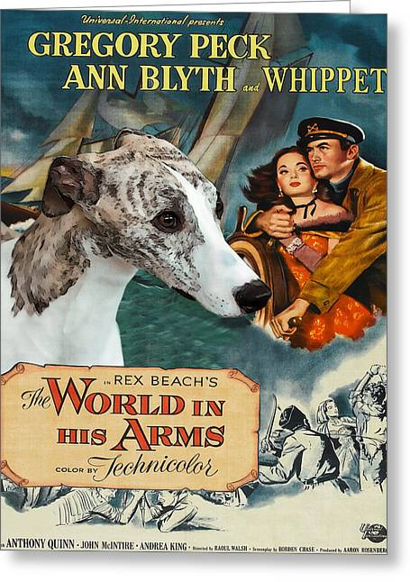 Dog Prints Greeting Cards - Whippet Art - The World in his Arms Movie Poster Greeting Card by Sandra Sij