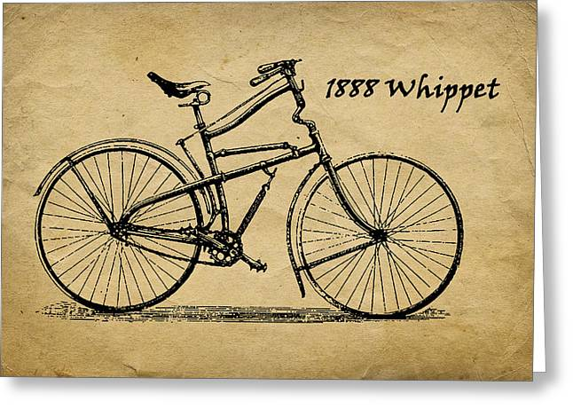 Whippet Greeting Cards - Whippet Bicycle Greeting Card by Tom Mc Nemar