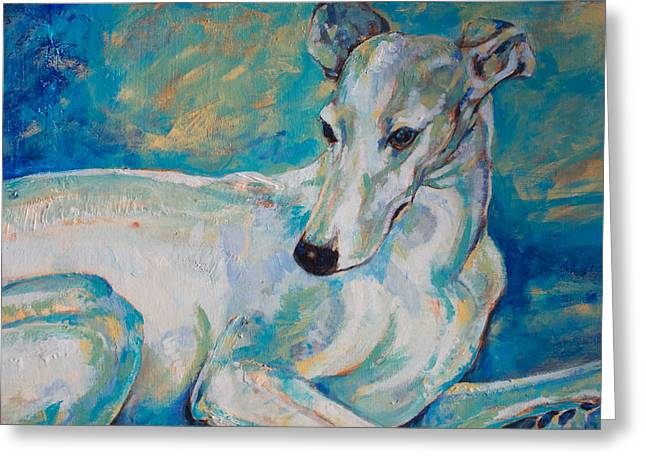 Greyhound Dog Greeting Cards - Whippet-effects of gravity 4 Greeting Card by Derrick Higgins