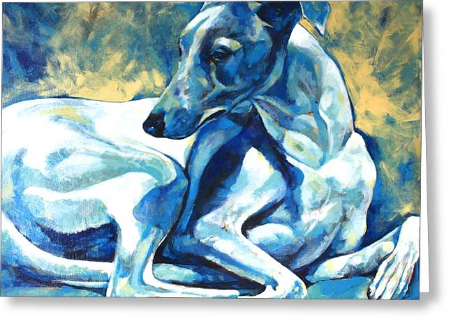 Whippet Greeting Cards - Whippet-Effects of Gravity 5 Greeting Card by Derrick Higgins
