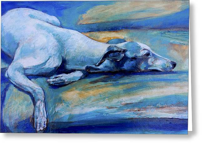 Whippet Greeting Cards - Whippet-Effects of gravity-6 Greeting Card by Derrick Higgins