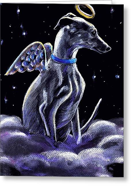 Heavens Pastels Greeting Cards - Whippet Italian Greyhound Angel Greeting Card by Darlene Grubbs