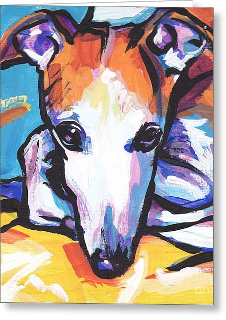 Whippet Greeting Cards - Whippet Love Greeting Card by Lea