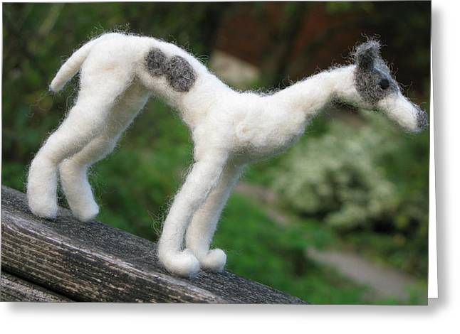 Toy Dog Sculptures Greeting Cards - Whippet Greeting Card by Maria Joy