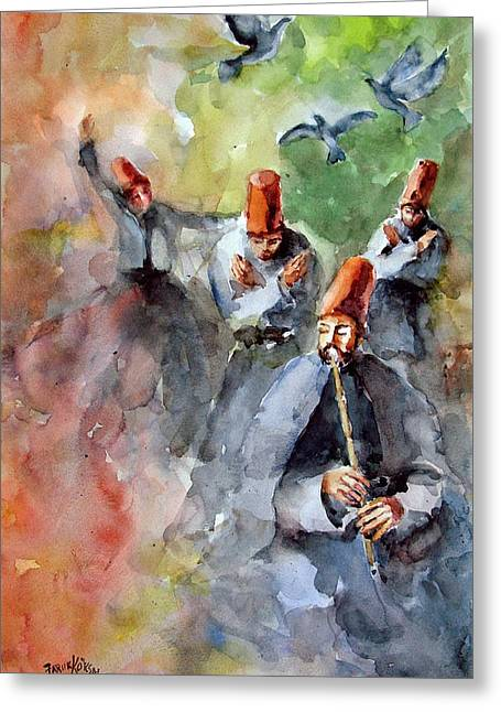 Ecumenical Greeting Cards - Whirling Dervishes and Pigeons         Greeting Card by Faruk Koksal