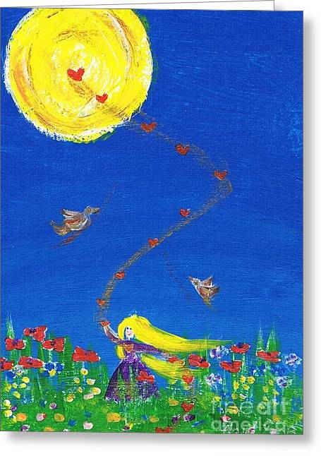 Women Only Paintings Greeting Cards - Whirling Love Greeting Card by Agnieszka Ledwon