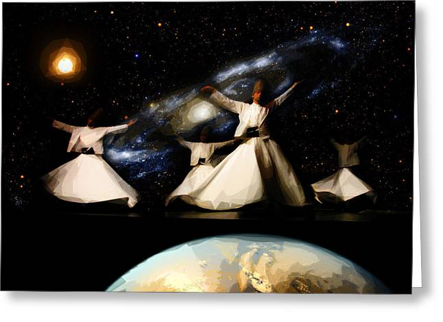 Initiation Greeting Cards - Whirling Universe Greeting Card by Celestial Images