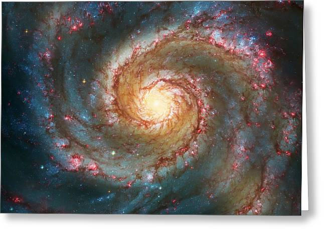 Space Greeting Cards - Whirlpool Galaxy  Greeting Card by The  Vault - Jennifer Rondinelli Reilly