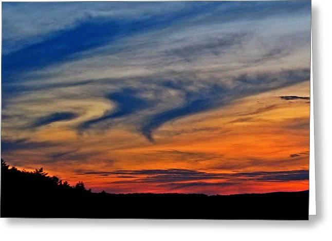 Colorful Cloud Formations Greeting Cards - Whirlpool Sunset Greeting Card by Marianna Mills