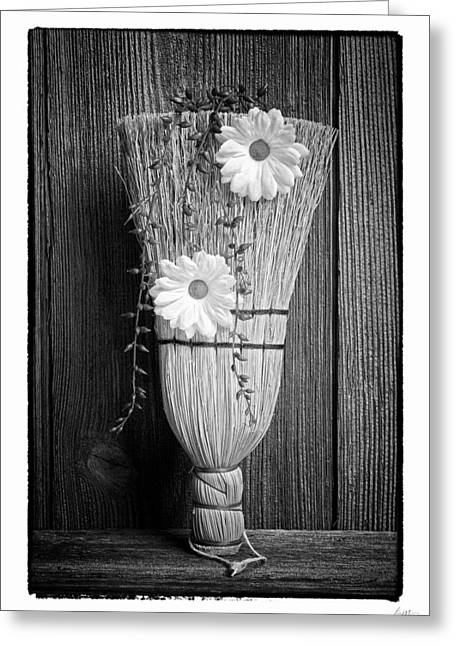 Broom Greeting Cards - Whisk Bloom - Art Unexpected Greeting Card by Tom Mc Nemar