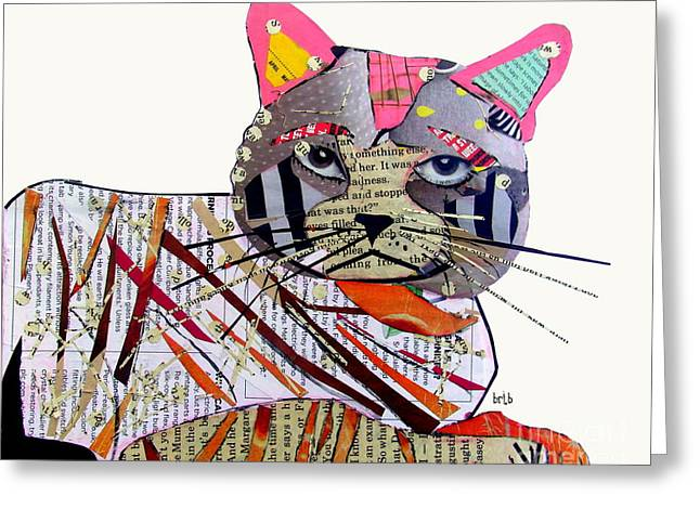 Fine Mixed Media Greeting Cards - Whiskers Greeting Card by Bri Buckley
