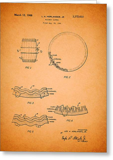1968 Drawings Greeting Cards - Whiskey Barrel Patent Greeting Card by Mountain Dreams