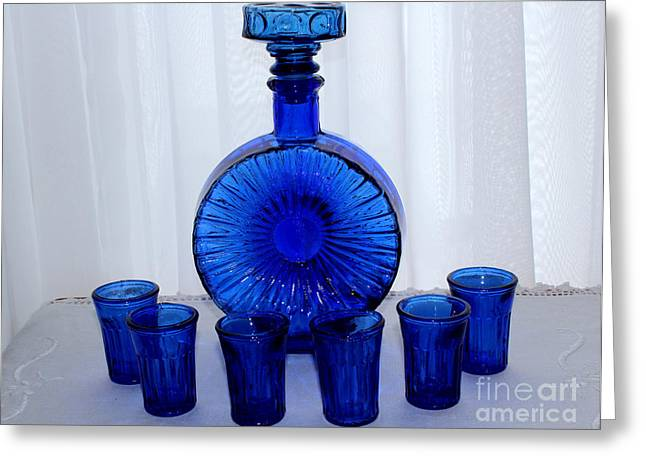 Whiskey Decanter And Shot Glasses Greeting Card by Barbara Griffin