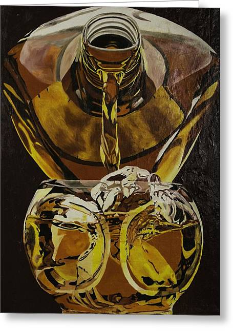 Malt Paintings Greeting Cards - Whiskey Pour Greeting Card by Herb Van de Eau