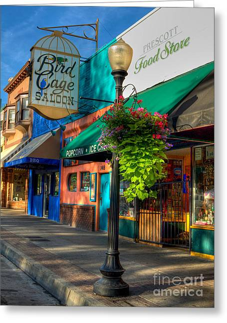 Prescott Greeting Cards - Whiskey Row Prescott Arizona Greeting Card by K D Graves