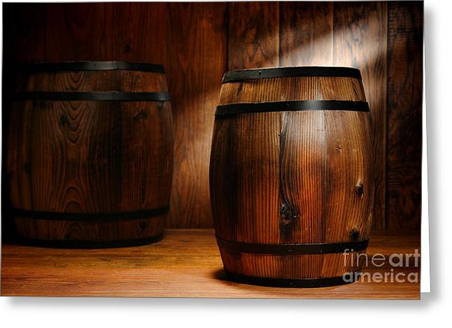 Barrels Greeting Cards - Whisky Barrel Greeting Card by Olivier Le Queinec