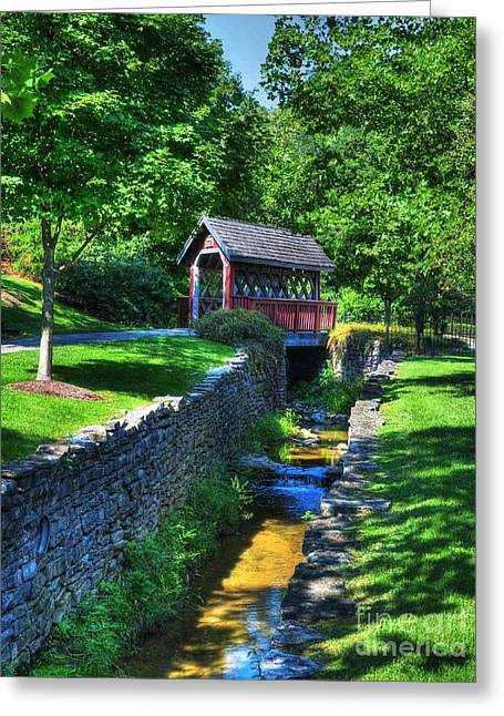 Shade Cover Greeting Cards - Whisky Creek Bridge Greeting Card by Mel Steinhauer