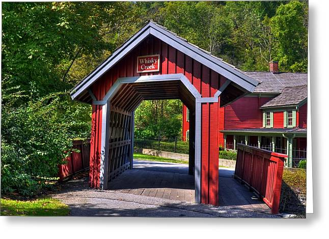 Covered Bridge Greeting Cards - Whisky Creek Greeting Card by Mel Steinhauer