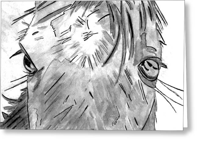 Veterinarian Greeting Cards - Whisper - Black and White Greeting Card by Elizabeth Briggs