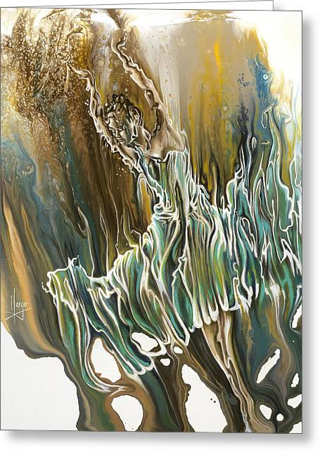 Figures Paintings Greeting Cards - Whisper Greeting Card by Karina Llergo Salto