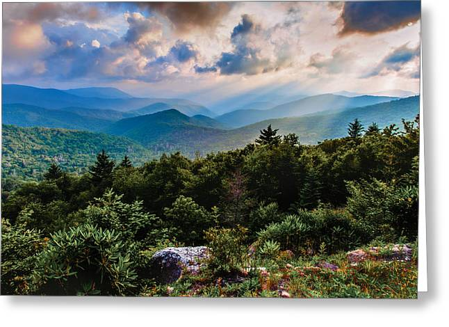 God Beams Greeting Cards - Whispered Light Greeting Card by Rob Travis
