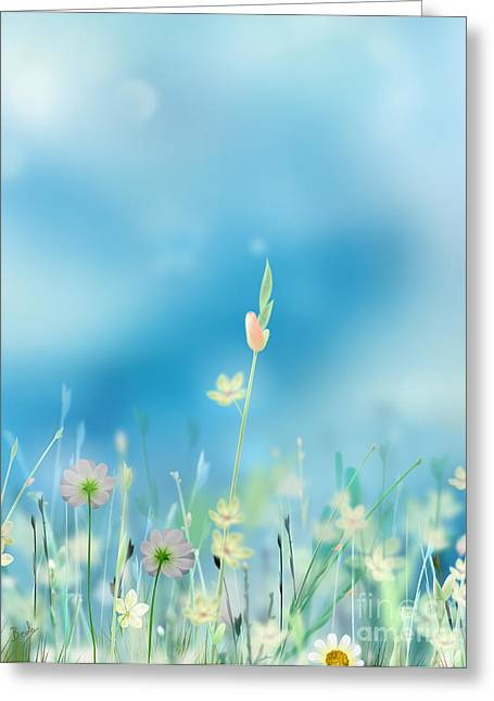 Soft Light Mixed Media Greeting Cards - Whispering Heaven Greeting Card by Bedros Awak