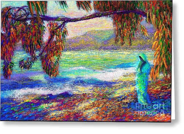 Colorful Indian Greeting Cards - Whispering Waves Greeting Card by Jane Small