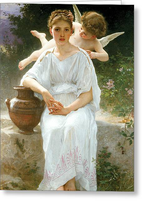 Academic Nudes Greeting Cards - Whisperings of Love Greeting Card by William-Adolphe Bouguereau