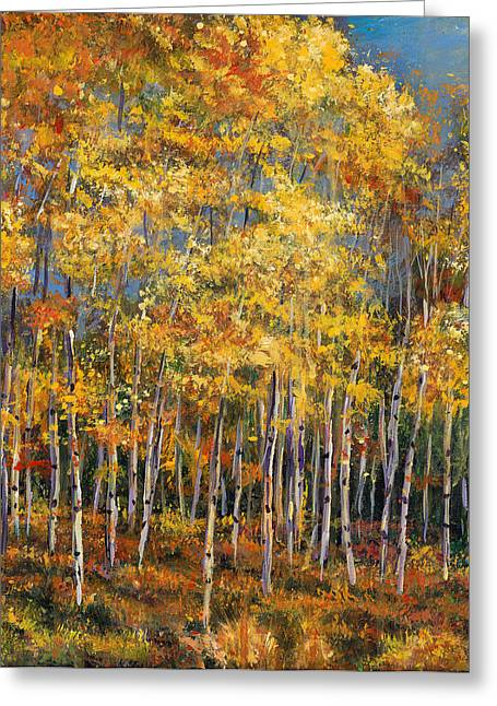 Birch Trees Greeting Cards - Whispers and Secrets Greeting Card by Johnathan Harris