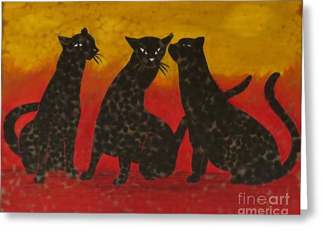 Faux Finish Greeting Cards - Whispers of a Cat Greeting Card by Emily Young