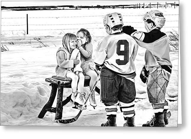 Kids Playing Hockey Greeting Cards - Whispers on the Backyard Rink Greeting Card by Elizabeth Urlacher