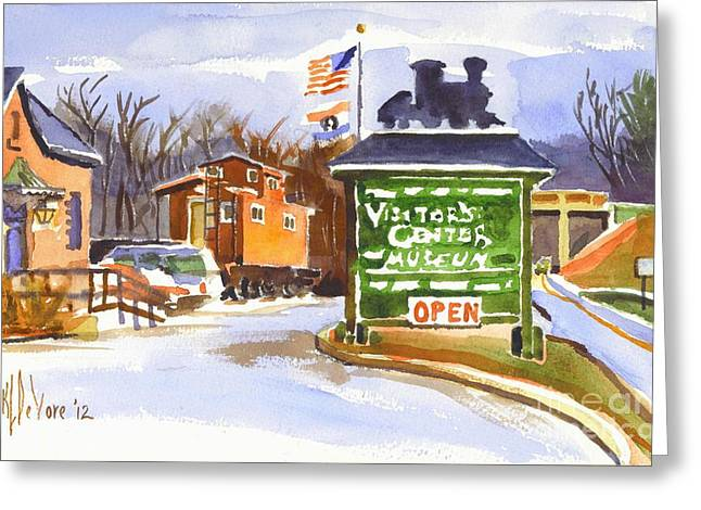Caboose Greeting Cards - Whistle Junction in Ironton Missouri Greeting Card by Kip DeVore