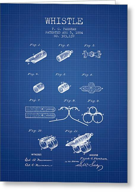 Police Art Greeting Cards - Whistle Patent from 1884 - Blueprint Greeting Card by Aged Pixel