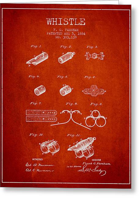 Police Art Greeting Cards - Whistle Patent from 1884 - Red Greeting Card by Aged Pixel