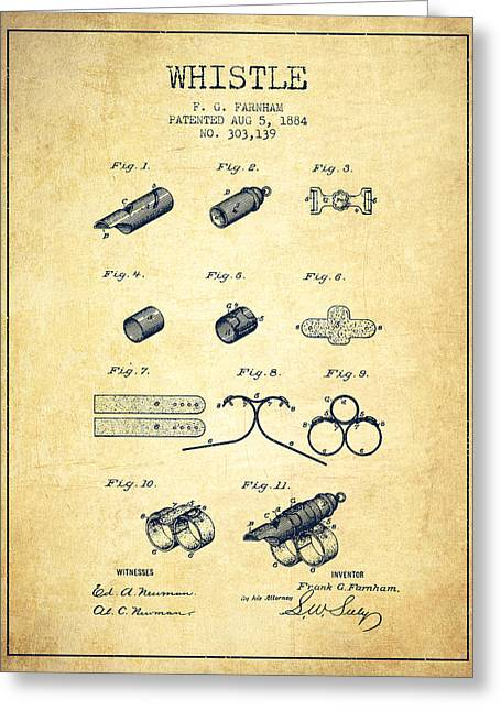 Police Art Greeting Cards - Whistle Patent from 1884 - Vintage Greeting Card by Aged Pixel