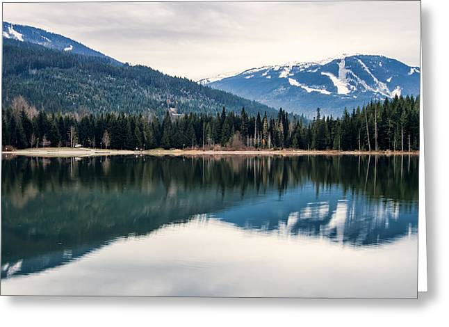 Mountain Reflection Lake Summit Mirror Greeting Cards - Whistler Blackcomb Reflection Greeting Card by James Wheeler