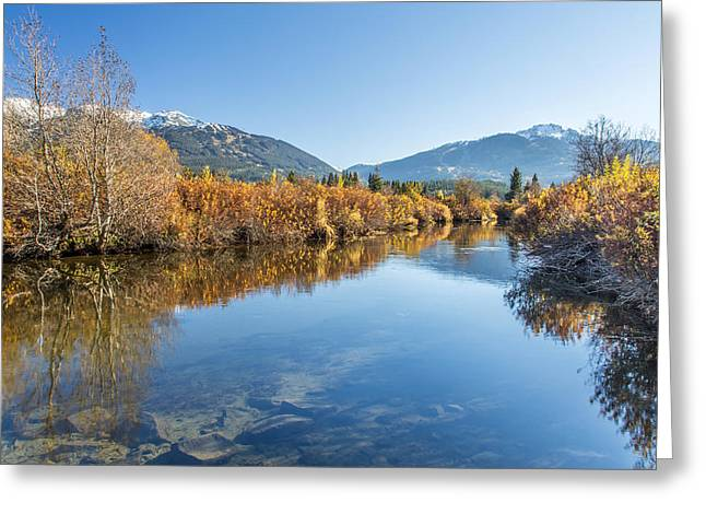 Canon Eos 6d Greeting Cards - Whistler Blackcomb River of Golden Dreams reflection  with Canon EOS 6D and Rokinon 14 mm f2.8 Greeting Card by Pierre Leclerc Photography