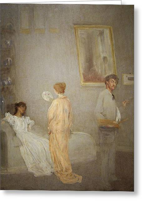 Whistler In His Studio Greeting Card by James Abbott McNeil Whistler