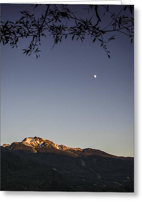 Moonrise Greeting Cards - Whistler Mountain Greeting Card by Aaron S Bedell